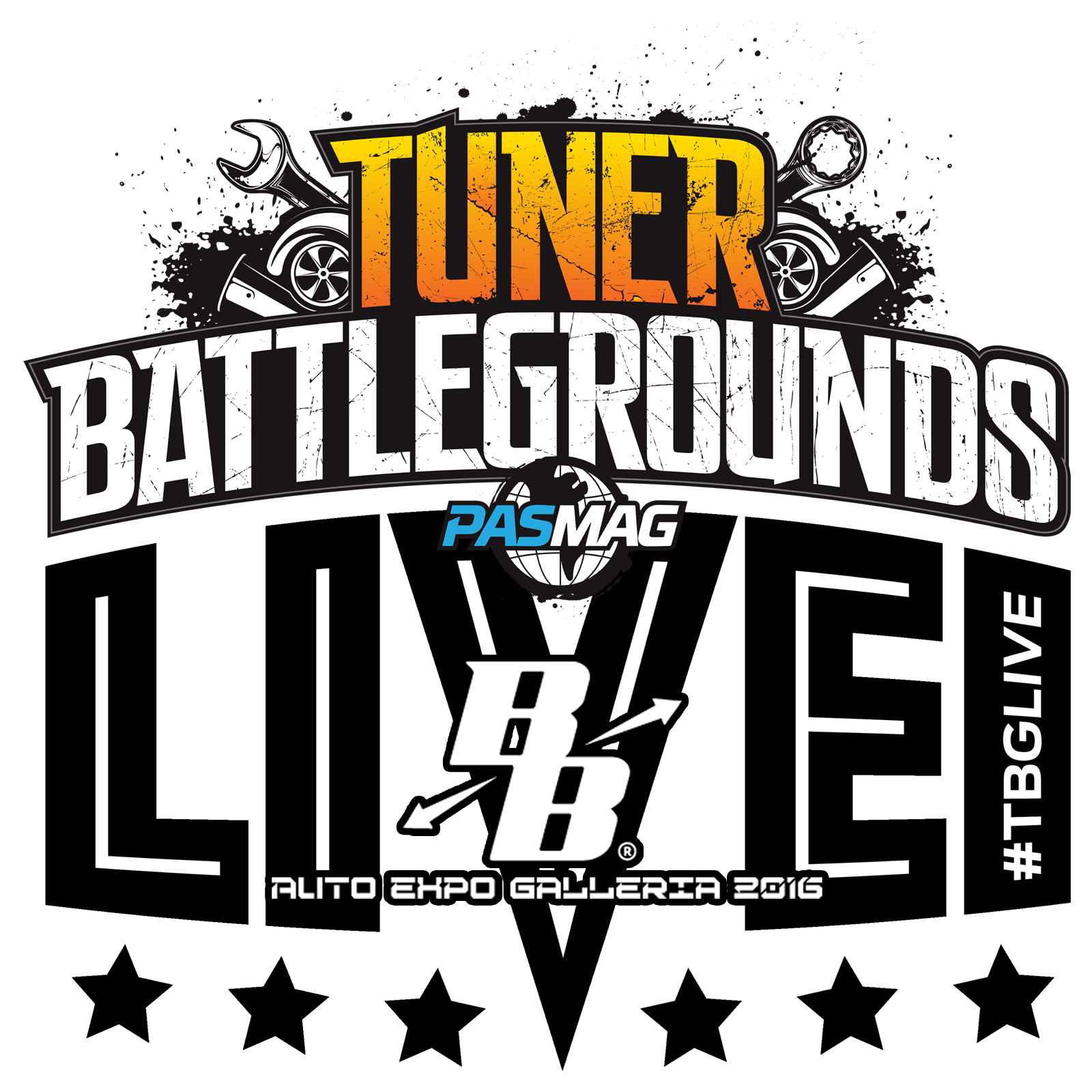 Tuner Battlegrounds TBGLIVE Logo Auto Expo Galleria 2016